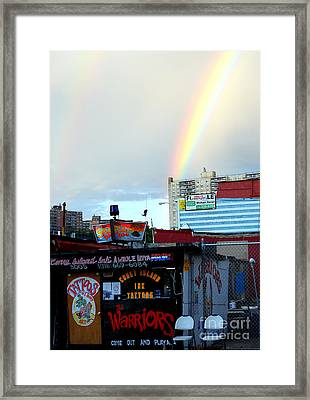 Framed Print featuring the photograph Coney Island Rainbow by Robert Riordan