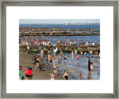 Framed Print featuring the photograph Coney Island Rocks by Ed Weidman
