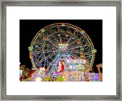 Coney Island's Famous Amusement Park And Wonder Wheel Framed Print