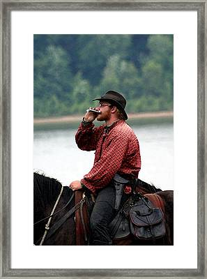 Whiskey River Framed Print by Thia Stover