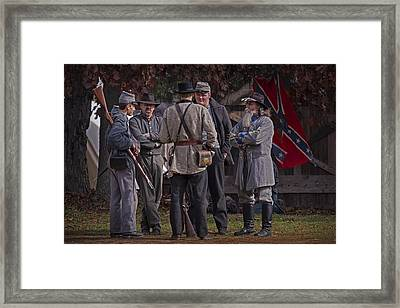 Confederate Civil War Reenactors With Rebel Confederate Flag Framed Print