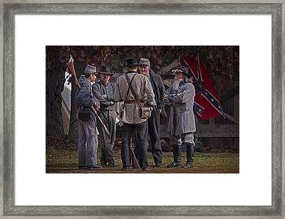 Confederate Civil War Reenactors With Rebel Confederate Flag Framed Print