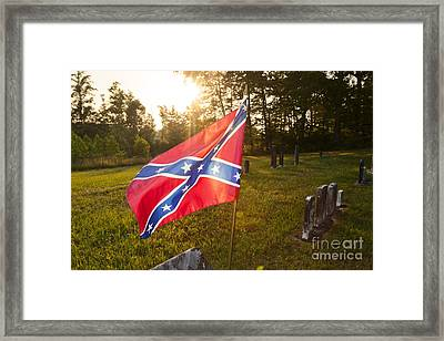 Confederate Flag In An Old Cemetery Framed Print by Jonathan Welch