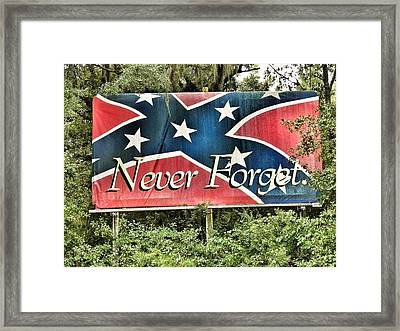 Confederate Flag In The Woods Framed Print