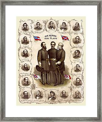 Confederate Generals And Flags Framed Print