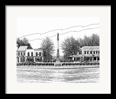 Confederate Monument In Franklin Tennessee Drawings Framed Prints