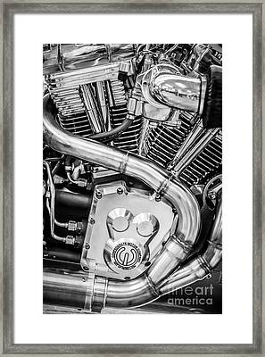 Confederate Motorcycle B120 Wraith Engine And Exhaust Pipe 2 - Black And White Framed Print by Ian Monk