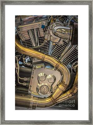 Confederate Motorcycle B120 Wraith Engine And Exhaust Pipe 2  Framed Print by Ian Monk