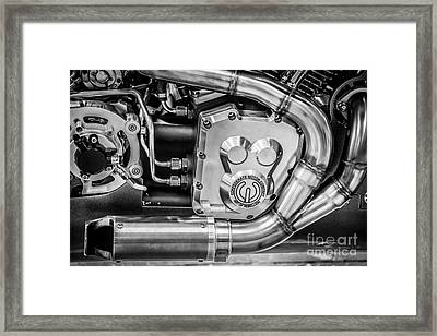Confederate Motorcycle B120 Wraith Engine And Exhaust Pipe - Black And White Framed Print by Ian Monk