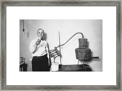 Confiscated Prohibition Moonshine Still C. 1925 Framed Print