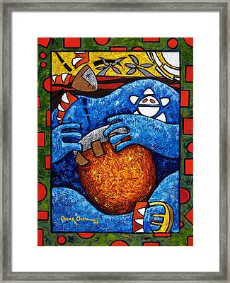 Conga On Fire Framed Print by Oscar Ortiz