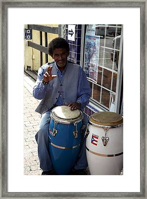 Conga Player In Little Havana Framed Print by Carolyn Mortensen