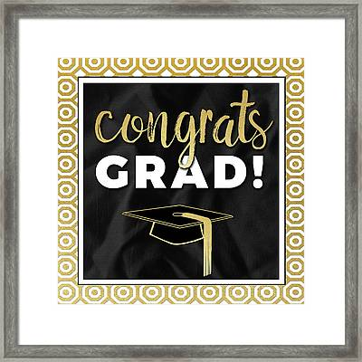 Congrats Grad! In Gold Framed Print by Aubree Perrenoud