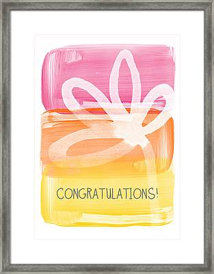 Congratulations- Greeting Card Framed Print by Linda Woods