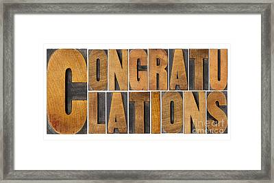 Congratulations In Wood Type Framed Print
