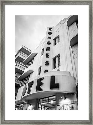Congress Hotel Art Deco District Sobe Miami Florida - Black And White Framed Print by Ian Monk