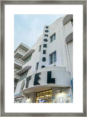 Congress Hotel Art Deco District Sobe Miami Florida  Framed Print by Ian Monk