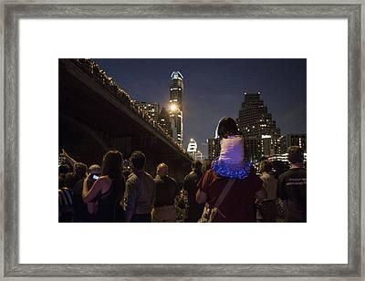 Congress Street Bridge In Austin Tx Framed Print