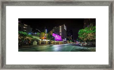Congress Street In Downtown Austin Framed Print