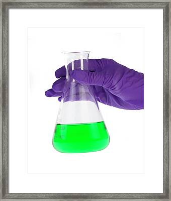 Conical Flask In Latex-gloved Hand Framed Print
