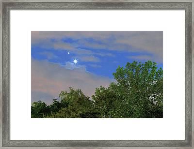Conjunction Of Venus And Jupiter Framed Print by Babak Tafreshi