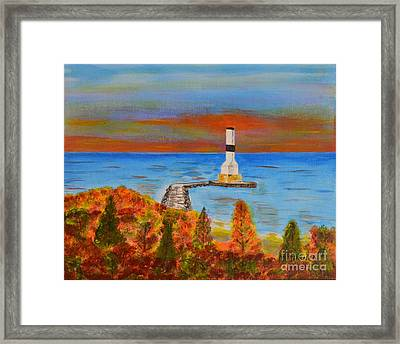 Fall, Conneaut Ohio Light House Framed Print