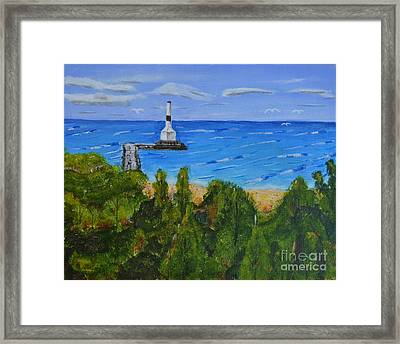 Summer, Conneaut Ohio Lighthouse Framed Print