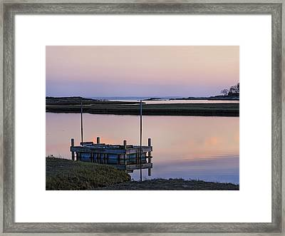 Connecticut Backwaters Sunset With Dock  Framed Print