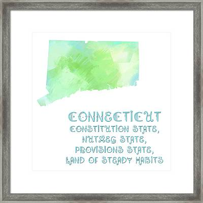 Connecticut - Constitution State - Nutmeg State - Provisions State - Map - State Phrase - Geology Framed Print by Andee Design