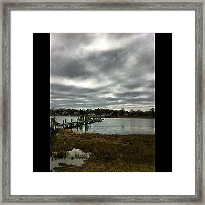 #connecticut #mystic #lake #cold #pier Framed Print
