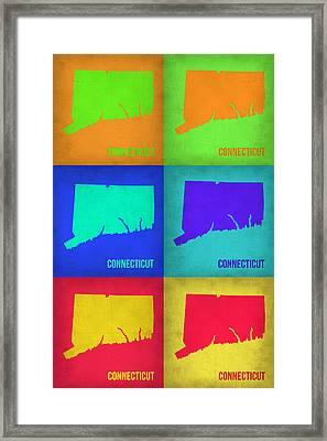 Connecticut Pop Art Map 1 Framed Print by Naxart Studio