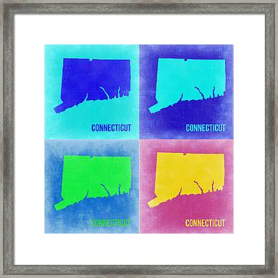 Connecticut Pop Art Map 2 Framed Print by Naxart Studio