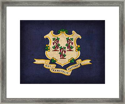 Connecticut State Flag Art On Worn Canvas Framed Print by Design Turnpike