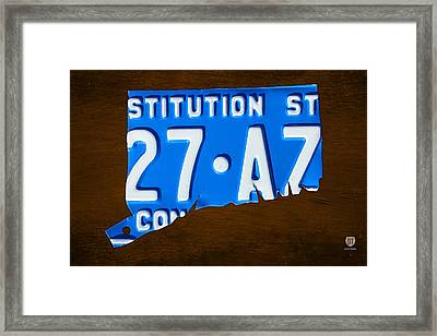 Connecticut State License Plate Map Framed Print
