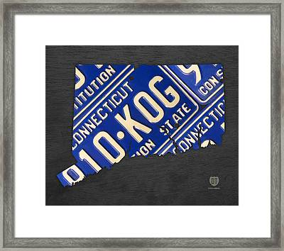 Connecticut State Outline License Plate Map Edition 2 Framed Print