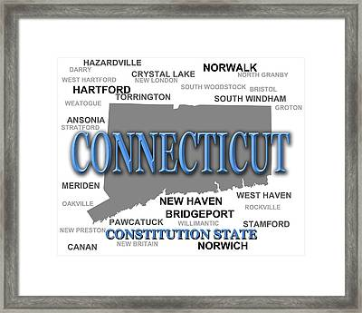 Connecticut State Pride Map Silhouette  Framed Print by Keith Webber Jr