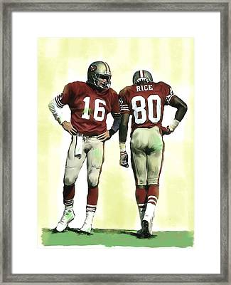 The Connection II Joe Montana And Jerry Rice  Framed Print by Iconic Images Art Gallery David Pucciarelli