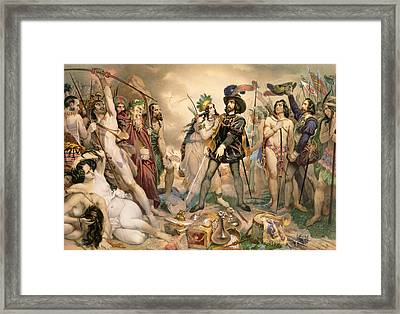 Conquest Of Mexico Hernando Cortes Destroying His Fleet At Vera Cruz Framed Print by Nicholas Eustache Maurin