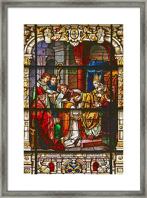 Consecration Of St Augustine Stained Glass Window Framed Print by Christine Till