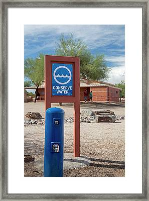 Conserve Water Sign Framed Print by Jim West