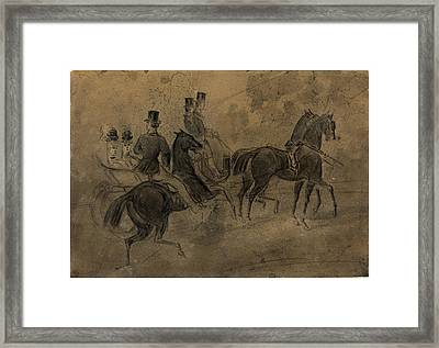 Constantin Guys, French 1805-1892, An Open Carriage Framed Print by Litz Collection