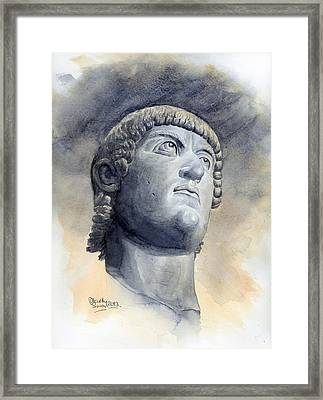 Constantine Bronze Head Framed Print by Maddy Swan