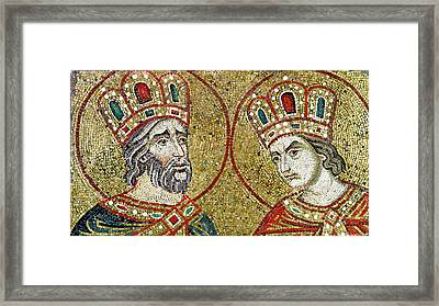 Constantine The Great 270-337 And St. Helena Mosaic Framed Print by Veneto-Byzantine School