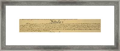 Constitution Article V Framed Print