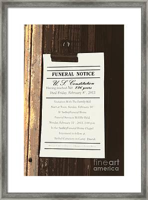 Constitution Death Notice Framed Print by Joe Jake Pratt