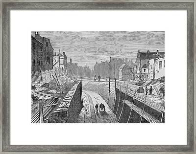 Constructing An Underground  Line Framed Print by Mary Evans Picture Library