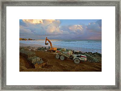 Constructing Sea Defenses,bunmahon Framed Print by Panoramic Images