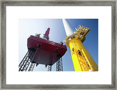 Constructing Walney Offshore Wind Farm Framed Print by Ashley Cooper
