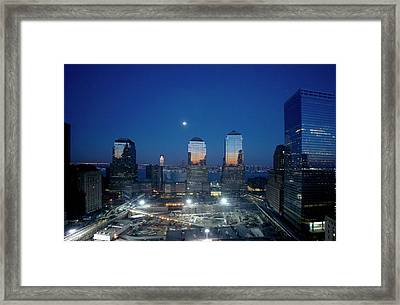 Construction At The Twin Towers Site Framed Print by Library Of Congress