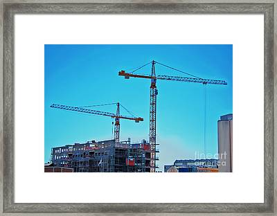 construction cranes HDR Framed Print by Antony McAulay